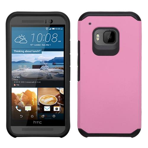 Insten Hard Dual Layer Rubber Coated Silicone Case For HTC One M9, Pink/Black
