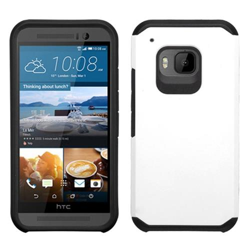 Insten Hard Hybrid Rubberized Silicone Case For HTC One M9, White/Black