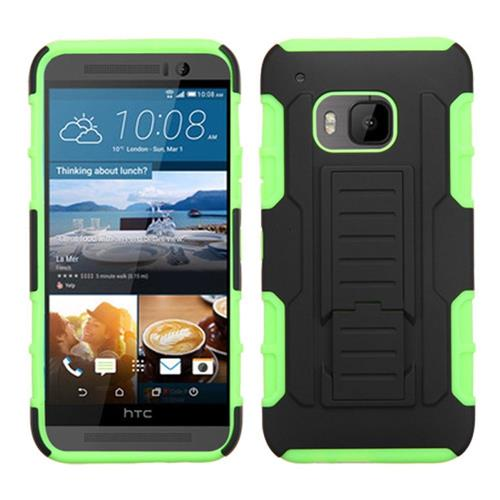 Insten Car Armor Hard Hybrid Plastic Silicone Cover Case w/stand For HTC One M9, Black/Green