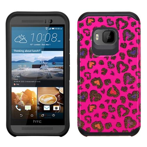 Insten Leopard Hard Hybrid Rubber Silicone Cover Case For HTC One M9, Hot Pink/Black