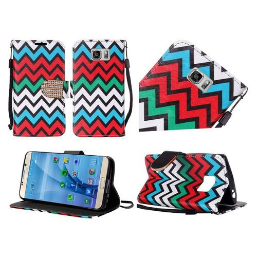 Insten Chevron Flip Leather Fabric Case Lanyard w/stand/Diamond For Samsung Galaxy S7, Red/Blue