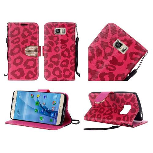 Insten Leopard Book-Style Leather Fabric Case w/stand/Diamond For Samsung Galaxy S7, Red/Black