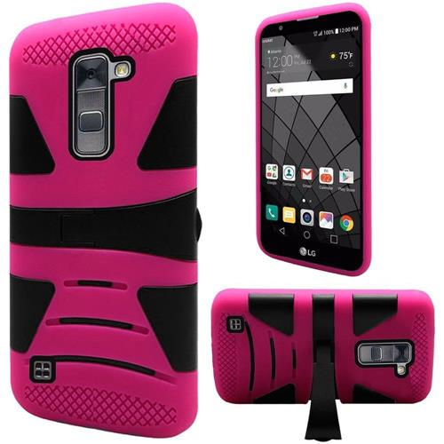 Insten Hard Hybrid Rubberized Silicone Case w/stand For LG Stylo 2 Plus, Hot Pink/Black