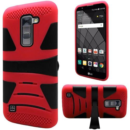 Insten Hard Dual Layer Silicone Cover Case w/stand For LG Stylo 2 Plus, Red/Black