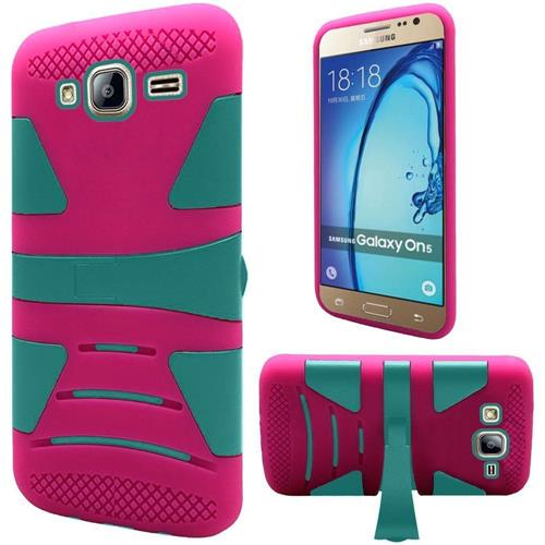 Insten Hard Hybrid Silicone Cover Case w/stand For Samsung Galaxy On5, Hot Pink/Teal