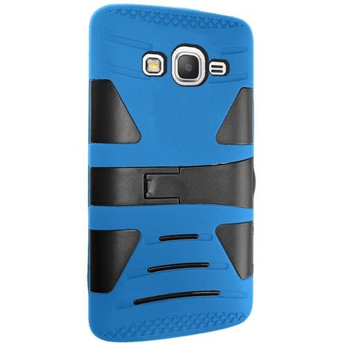 Insten Hard Hybrid Silicone Cover Case w/stand For Samsung Galaxy Grand Prime, Blue/Black
