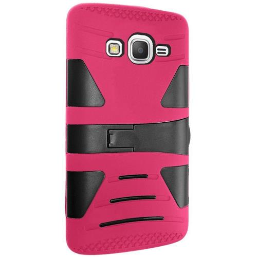 Insten Hard Dual Layer Rubber Silicone Case w/stand For Samsung Galaxy Grand Prime, Hot Pink/Black