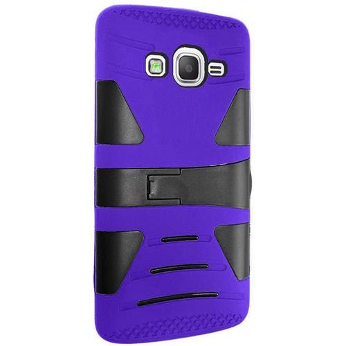 Insten Hard Hybrid Rubberized Silicone Cover Case w/stand For Samsung Galaxy Grand Prime, Blue/Black