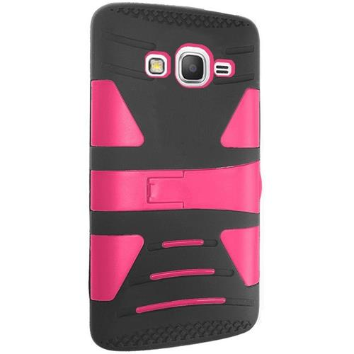 Insten Hard Hybrid Silicone Cover Case w/stand For Samsung Galaxy Grand Prime, Black/Hot Pink