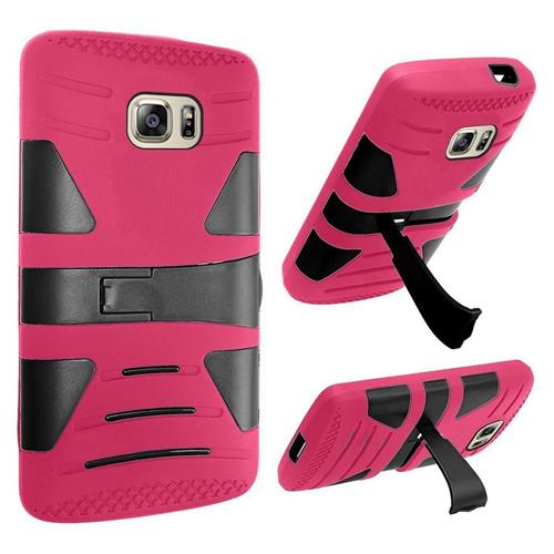 Insten Hard Dual Layer Rubber Coated Silicone Case w/stand For Samsung Galaxy S7, Hot Pink/Black