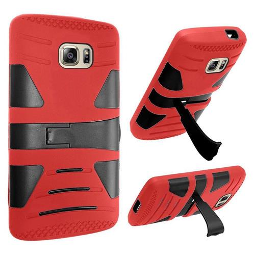 Insten Hard Dual Layer Silicone Case w/stand For Samsung Galaxy S7, Red/Black