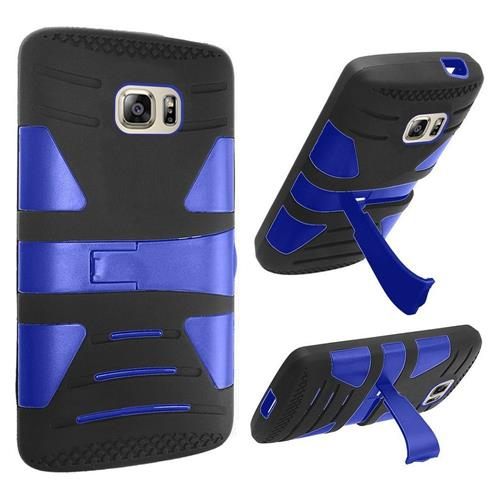 Insten Hard Hybrid Rubber Coated Silicone Cover Case w/stand For Samsung Galaxy S7, Black/Blue