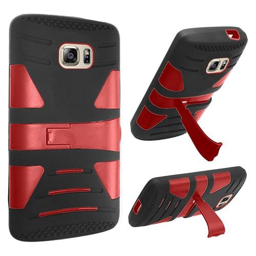 Insten Hard Hybrid Silicone Case w/stand For Samsung Galaxy S7, Black/Red
