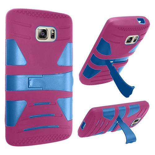 Insten Hard Dual Layer Rubberized Silicone Cover Case w/stand For Samsung Galaxy S7, Hot Pink/Blue