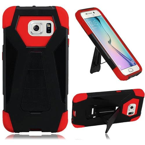 Insten Hard Hybrid Plastic Silicone Case w/stand For Samsung Galaxy S6 Edge, Black/Red