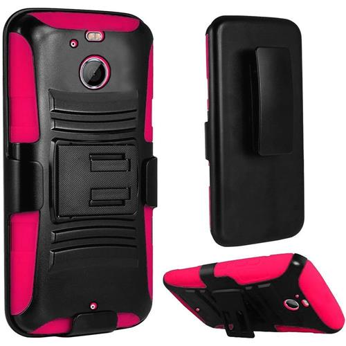 Insten Hard Hybrid Plastic Silicone Cover Case w/Holster For HTC 10/Bolt, Black/Hot Pink