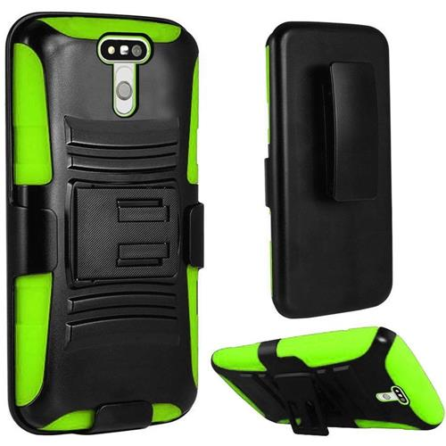 Insten Hard Hybrid Plastic Silicone Case w/Holster For LG G5, Black/Green