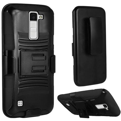 Insten Hard Dual Layer Plastic Silicone Cover Case w/Holster For LG K10, Black
