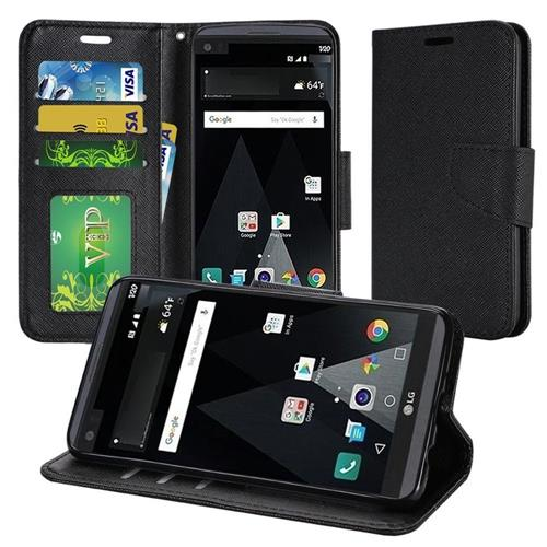 Insten Book-Style Leather Fabric Case Lanyard w/stand/Photo Display For LG Aristo/K8 (2017), Black