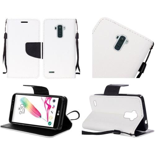 Insten Flip Leather Fabric Case Lanyard w/stand For LG K4/Optimus Zone 3/Spree, White