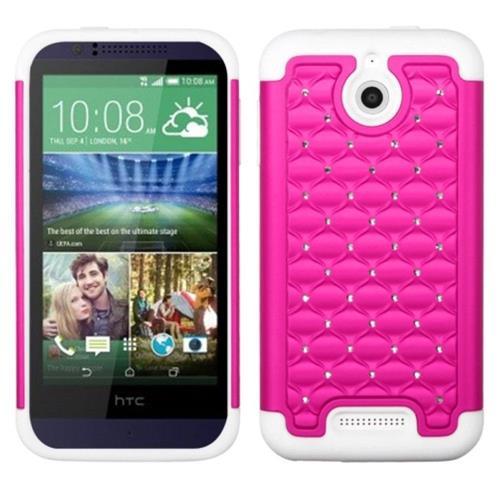 Insten Hard Hybrid Silicone Case w/Diamond For HTC Desire 510, Hot Pink/White