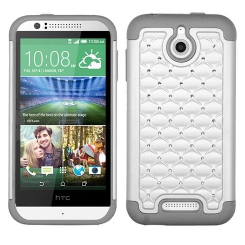 Insten Hard Dual Layer Rubberized Silicone Cover Case w/Diamond For HTC Desire 510, White/Gray