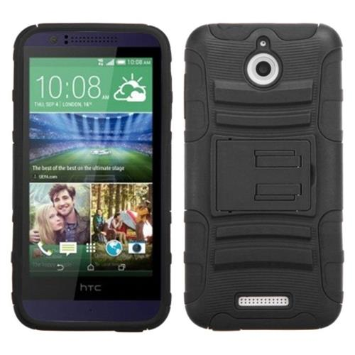 Insten Hard Hybrid Plastic Silicone Case w/stand For HTC Desire 510, Black
