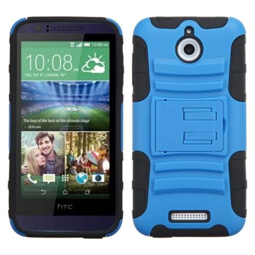 Insten Hard Hybrid Plastic Silicone Cover Case w/stand For HTC Desire 510, Blue/Black