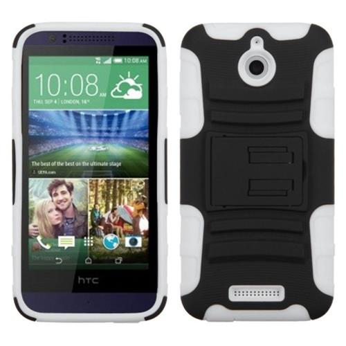 Insten Hard Hybrid Plastic Silicone Cover Case w/stand For HTC Desire 510, Black/White