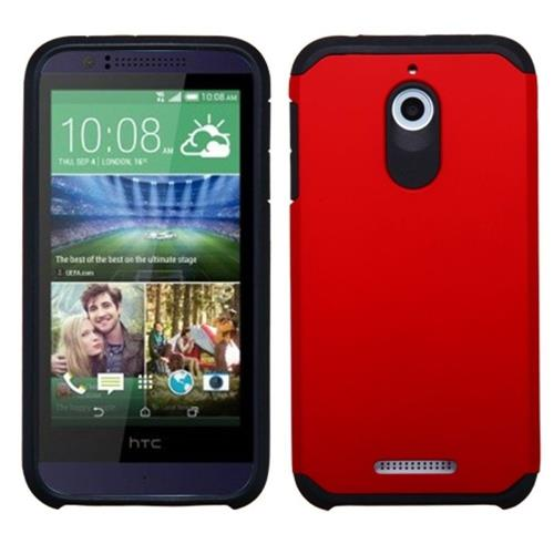 Insten Hard Dual Layer Rubber Coated Silicone Cover Case For HTC Desire 510, Red/Black
