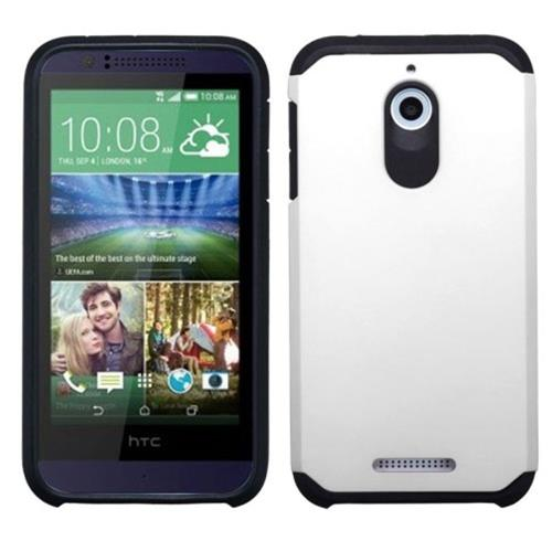 Insten Hard Hybrid Rubber Coated Silicone Cover Case For HTC Desire 510, White/Black
