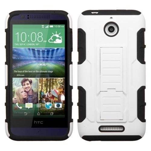 Insten Hard Hybrid Plastic Silicone Cover Case w/stand For HTC Desire 510, White/Black