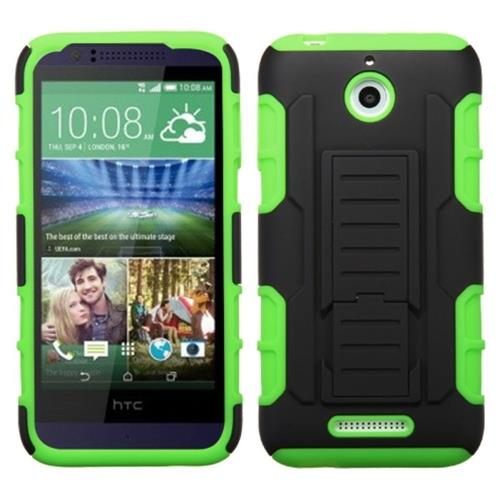 Insten Hard Hybrid Plastic Silicone Cover Case w/stand For HTC Desire 510, Green/Black