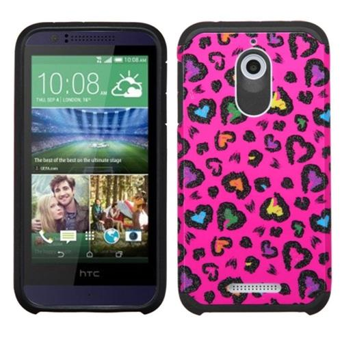 Insten Leopard Hard Dual Layer Rubber Silicone Cover Case For HTC Desire 510, Hot Pink/Black