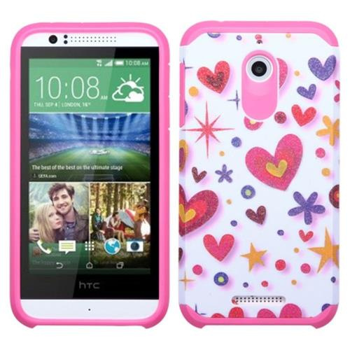 Insten Heart Graffiti Hard Hybrid Rubberized Silicone Cover Case For HTC Desire 510, Hot Pink/White