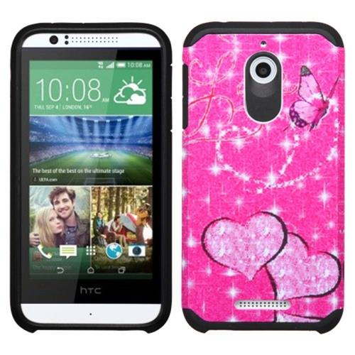 Insten Butterfly/Heart Hard Dual Layer Rubber Silicone Cover Case For HTC Desire 510, Hot Pink