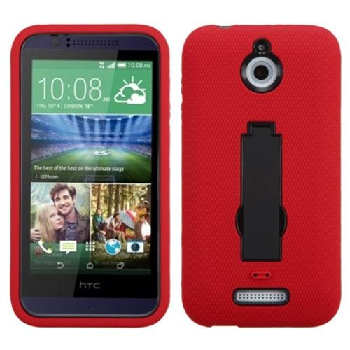 Insten Rubber Dual Layer Hard Cover Case w/stand For HTC Desire 510, Red/Black