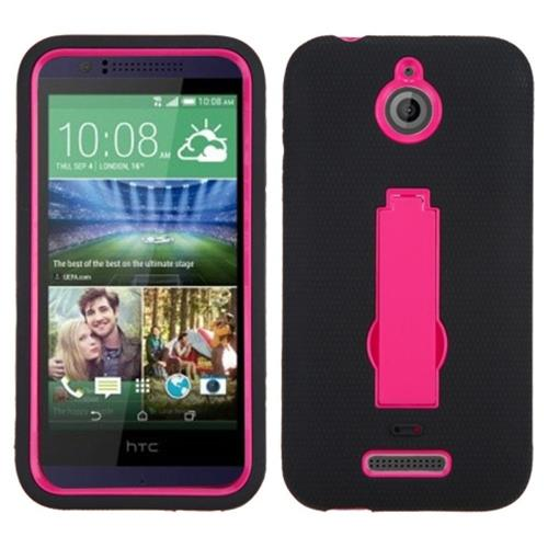 Insten Symbiosis Silicone Dual Layer Rubber Hard Case w/stand For HTC Desire 510, Hot Pink/Black