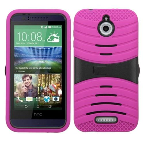 Insten Wave Symbiosis Rubber Hybrid Hard Cover Case w/stand For HTC Desire 510, Hot Pink/Black