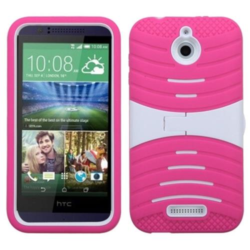 Insten Silicone Hybrid Rubber Hard Cover Case w/stand For HTC Desire 510, Hot Pink/White