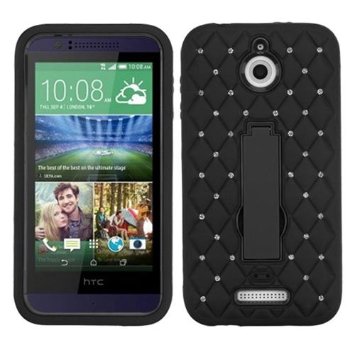 Insten Symbiosis Soft Dual Layer Rubber Hard Cover Case w/stand/Diamond For HTC Desire 510, Black