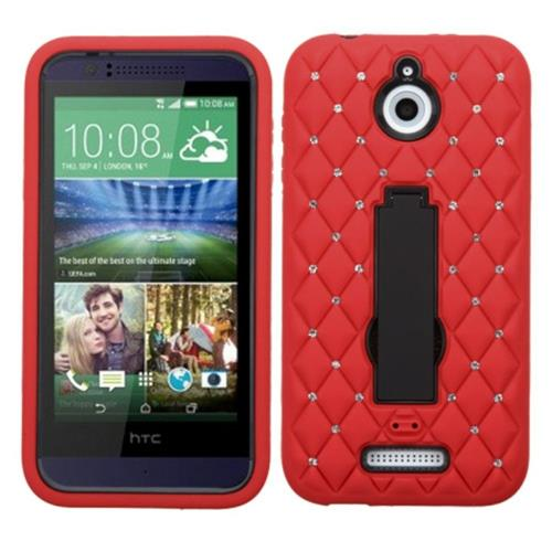 Insten Symbiosis Rubber Hybrid Hard Cover Case w/stand/Diamond For HTC Desire 510, Red/Black