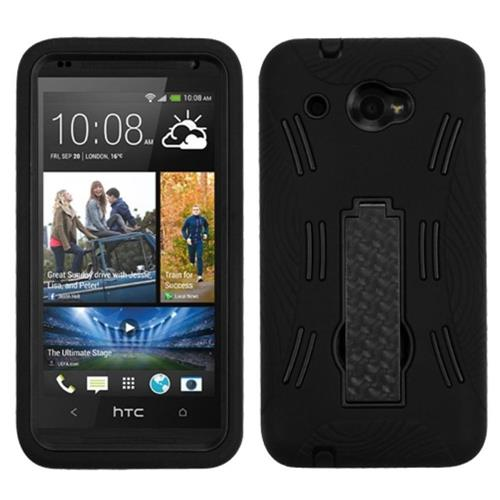 Insten Symbiosis Silicone Hybrid Rubber Hard Cover Case w/stand For HTC Desire Zara, Black