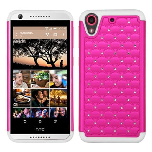 Insten Hard Dual Layer Rubber Silicone Case w/Diamond For HTC Desire 626/626s, Hot Pink/White