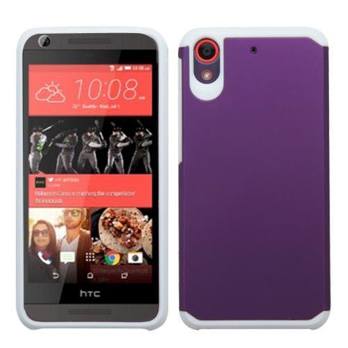 Insten Hard Dual Layer Rubber Silicone Cover Case For HTC Desire 626/626s, Purple/White