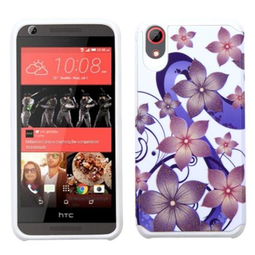Insten Hibiscus Flower Romance Hard Rubber Silicone Case For HTC Desire 626/626s, Purple/White