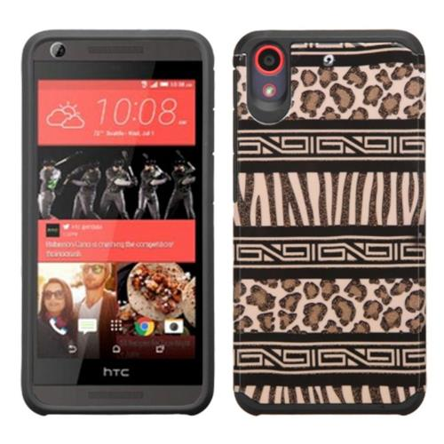 Insten Zebra Hard Dual Layer Rubberized Silicone Case For HTC Desire 626/626s, Brown/Black