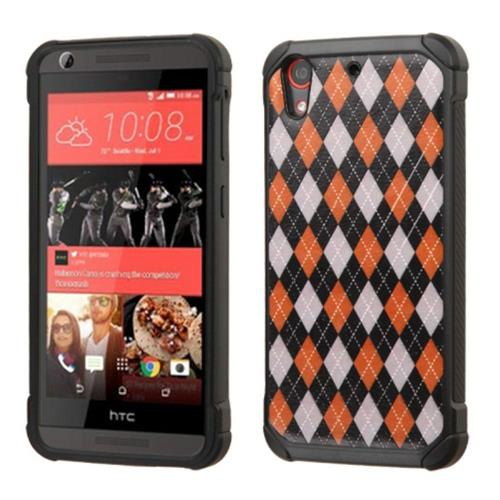 Insten Argyle Hard Dual Layer Silicone Case For HTC Desire 626/626s, Red/Black