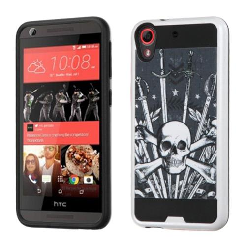 Insten Sword & Skull Hard Dual Layer Silicone Cover Case For HTC Desire 626/626s, Black/White