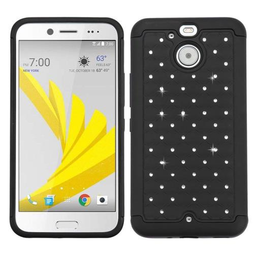 Insten Hard Hybrid Rubber Coated Silicone Cover Case w/Diamond For HTC Bolt, Black